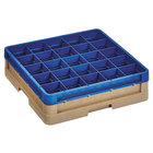 Vollrath CR6B-32944 Traex® 25 Compartment Beige Full-Size Closed Wall 4 13/16 inch Glass Rack with 1 Royal Blue Extender