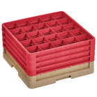 Vollrath CR6BBBB-32802 Traex® 25 Compartment Beige Full-Size Closed Wall 9 7/16 inch Glass Rack with 4 Red Extenders