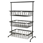GET IR-952-BK POP 22 3/4 inch x 11 inch Black Metal Rectangular 3-Tier Pane Stand