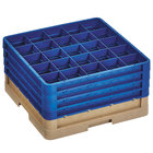 Vollrath CR6BBBB-32844 Traex® 25 Compartment Beige Full-Size Closed Wall 9 7/16 inch Glass Rack with 4 Royal Blue Extenders