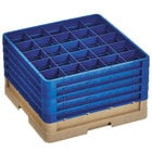 Vollrath CR6BBBBB-32844 Traex® 25 Compartment Beige Full-Size Closed Wall 11 inch Glass Rack with 5 Royal Blue Extenders