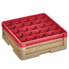 Vollrath CR12HH-32902 Traex® Rack Max 30 Compartment Beige Full-Size Closed Wall 6 3/8 inch Glass Rack - 1 Beige Extender, 1 Red Extender