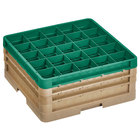 Vollrath CR11GGG-32919 Traex® Rack Max 20 Compartment Beige Full-Size Closed Wall 7 7/8 inch Glass Rack - 2 Beige Extenders, 1 Green Extender