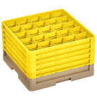 Vollrath CRLBBBBB-32808 Traex® 25 Compartment Beige Full-Size Closed Wall 11 inch Glass Rack with 5 Yellow Extenders