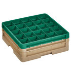 Vollrath CR9EE-32919 Traex® 49 Compartment Beige Full-Size Closed Wall 6 3/8 inch Glass Rack with 1 Beige Extender, 1 Green Extender
