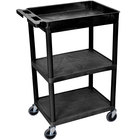 Luxor STC122-B Black Three Shelf Utility Cart