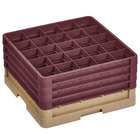 Vollrath CR12HHHH-32821 Traex® Rack Max 30 Compartment Beige Full-Size Closed Wall 9 7/16 inch Glass Rack with 4 Burgundy Extenders