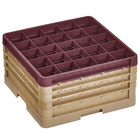 Vollrath CR7CCCC-32921 Traex® 36 Compartment Beige Full-Size Closed Wall 9 7/16 inch Glass Rack with 3 Beige Extenders, 1 Burgundy Extender