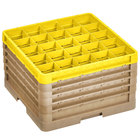 Vollrath CR12HHHHH-32908 Traex® Rack Max 30 Compartment Beige Full-Size Closed Wall 11 inch Glass Rack - 4 Beige Extenders, 1 Yellow Extender