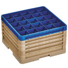 Vollrath CR12HHHHH-32944 Traex® Rack Max 30 Compartment Beige Full-Size Closed Wall 11 inch Glass Rack - 4 Beige Extenders, 1 Royal Blue Extender