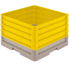 Vollrath CR1AAAA-32808 Traex® Full-Size Beige 11 1/2 inch Open Rack with Closed Sides and 4 Yellow Extenders