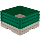 Vollrath CR1AAA-32819 Traex® Full-Size Beige 9 1/2 inch Open Rack with Closed Sides and 3 Green Extenders