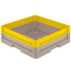Vollrath CR1A-32908 Traex® Full-Size Beige 5 1/2 inch Open Rack with Closed Sides and 1 Yellow Extender
