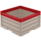 Vollrath CR1AAA-32902 Traex® Full-Size Beige 9 1/2 inch Open Rack with Closed Sides - 2 Beige Extenders, 1 Red Extender