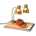 Carlisle HL8285GB21 FlexiGlow 24 inch Dual Arm Aluminum Heat Lamp with Gold Finish, Maple Cutting Board, and Drip Pan - 120V