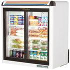 True GDM-9-SQ-HC-LD White Countertop Display Refrigerator with Sliding Doors