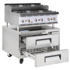 Cooking Performance Group 36RSURBNL 36 inch Gas Countertop Step-Up Range / Hot Plate with 2 Drawer Refrigerated Chef Base - 180,000 BTU