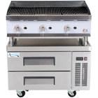 """Cooking Performance Group 36CBLRBNL 36"""" Gas Lava Briquette Charbroiler with 2 Drawer Refrigerated Chef Base - 120,000 BTU"""
