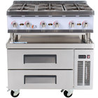 Cooking Performance Group 36RCRBNL 6 Burner Gas Countertop Hot Plate with 2 Drawer Refrigerated Chef Base - 132,000 BTU