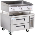 Cooking Performance Group 36GTRBNL 36 inch Heavy-Duty Gas Countertop Griddle with Flame Failure Protection, Thermostatic Controls, and 2 Drawer Refrigerated Chef Base - 90,000 BTU