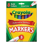 Crayola 587732 Assorted 8 Bold Color Broad Point Non-Washable Marker Set