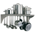 Matfer Bourgeat 845608 16 inch x 31 1/2 inch Stainless Steel Wall Mounted Utensil Rack with Shelf