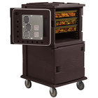 Cambro UPCHT1600HD131 Dark Brown Ultra Camcart Two Compartment Heated Holding Pan Carrier with Heavy-Duty Casters, Top Compartment Heated Only - 110V