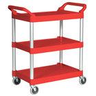 Rubbermaid 3424-88 Red Three Shelf Utility Cart / Bus Cart 33 x 18 x 37 (FG342488RED)