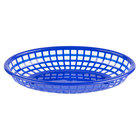 Choice 9 1/4 inch x 5 3/4 inch x 1 1/2 inch Blue Oval Plastic Fast Food Basket - 12/Pack