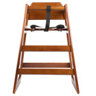 Lancaster Table &amp&#x3b; Seating Unassembled Stacking Restaurant Wood High Chair with Walnut Finish
