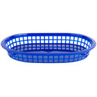 Choice 11 inch x 7 inch x 1 1/2 inch Blue Oval Plastic Fast Food Basket - 12/Pack