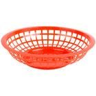 Choice 8 inch x 2 inch Round Red Plastic Fast Food Basket - 12/Pack