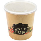 Choice 16 oz. Medley Double Poly-Coated Paper Soup / Hot Food Cup with Vented Plastic Lid - 25/Pack