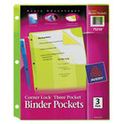 Avery 75310 Corner Lock 9 1/4 inch x 11 inch Assorted Binder Pocket - 3/Pack