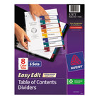 Avery 12172 Ready Index 8-Tab Multi-Color Easy Edit Table of Contents Dividers Set - 6/Pack