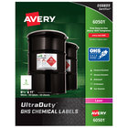 Avery 60501 UltraDuty 8 1/2 inch x 11 inch GHS Chemical Labels for Laser Printers - 50/Box