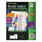 Avery 11085 EcoFriendly Ready Index A-Z Multi-Color Table of Contents Dividers