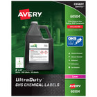 Avery 60504 UltraDuty 4 inch x 4 inch GHS Chemical Labels for Laser Printers - 200/Box