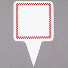 Square Write On Deli Sign Spear with Red Checkered Border - 25/Pack