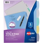 Avery 16170 Big Tab Letter Size 5-Tab Multi-Color Write-On Plastic Dividers