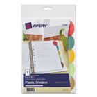 Avery 11118 Style Edge Translucent Plastic 5-Tab Multi-Color Mini Insertable Dividers