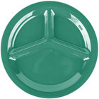 Carlisle 3300009 Sierrus 10 1/2 inch Meadow Green 3 Compartment Narrow Rim Melamine Plate - 12/Case