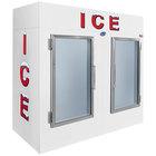 Leer 85AG 84 inch Indoor Auto Defrost Ice Merchandiser with Straight Front and Glass Doors