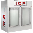 Leer 75AG 73 inch Indoor Auto Defrost Ice Merchandiser with Straight Front and Glass Doors