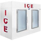 Leer 100AG 94 inch Indoor Auto Defrost Ice Merchandiser with Straight Front and Glass Doors