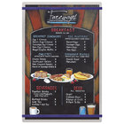 Menu Solutions ALSIN17-RB Alumitique 11 inch x 17 inch Customizable Brushed Aluminum Menu Board with Navy Bands