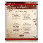Menu Solutions ALSIN811-RB Alumitique 8 1/2 inch x 11 inch Customizable Brushed Aluminum Menu Board with Red Bands