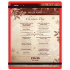 Menu Solutions ACRB-C Red 8 1/2 inch x 11 inch Customizable Acrylic Menu Board with Rubber Band Straps