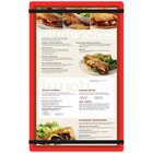 Menu Solutions ACRB-D Red 8 1/2 inch x 14 inch Acrylic Menu Board with Rubber Band Straps