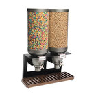Rosseto EZ541 EZ-SERV 13.3 Liter Double Canister Tabletop Snack / Cereal Dispenser with Black Matte Steel Stand and Walnut Catch Tray - 21 inch x 9 inch x 28 5/16 inch